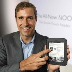 William Lynch, Chief Executive Officer of Barnes & Noble, holds the All-New Nook